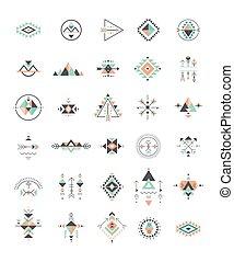 geometría, esotérico, tribal, azteca, símbolos, sagrado, místico, formas, alquimia