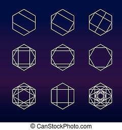 geometría, hexágono, conjunto, sagrado