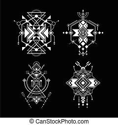 geometría, navajo, sagrado