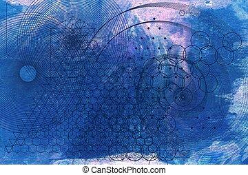 geometría, símbolos, elementos, plano de fondo, sagrado