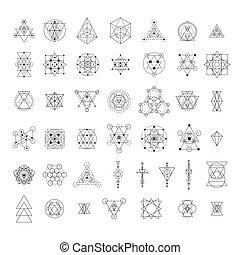 geometría, sagrado, colección, señales