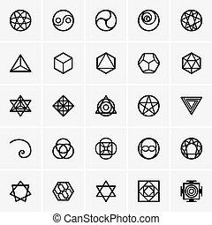 geometría, sagrado, iconos