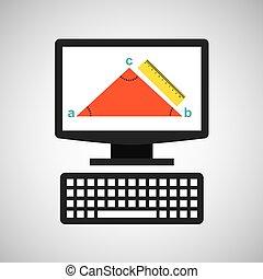 geometría, tecnología, educación, triángulo, en línea