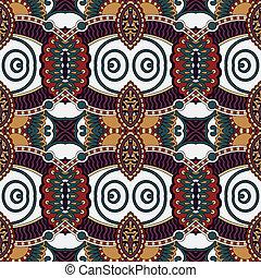geometría, vendimia, floral, seamless, patrón