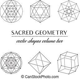 geometría, volumen, dos, sagrado