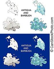 geometri, kaart, barbuda, antigua