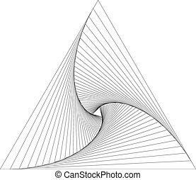 geometri, ruch obrotowy, trójkąt, abstrakcyjny