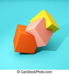 geometria, abstratos, cubos
