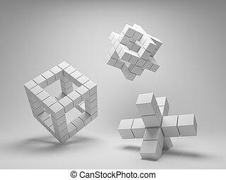geometria, abstratos, cubos, desenho