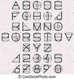 geometria, alfabeto, linha