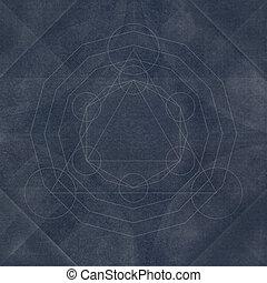 geometria, azul, abstratos, sagrado, fundo