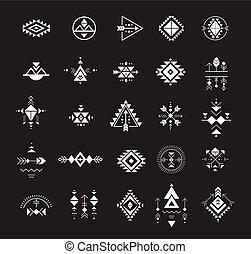 geometria, esoterico, tribale, azteco, simboli, sacro, mistico, forme, alchimia