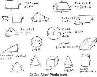 geometria, formułki, pisemny, ręka