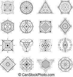 geometria, jogo, sagrado
