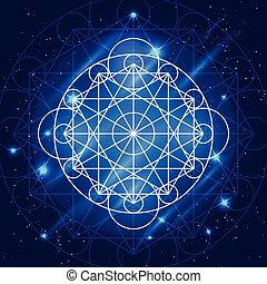 geometria, vetorial, magia, sinal