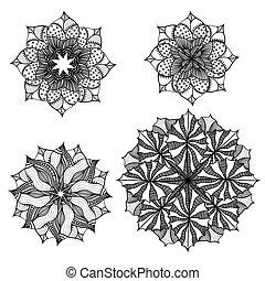 geometriai, kör alakú, díszítés, set.