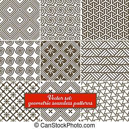 geometriai, seamless, set:, 9, vektor, patterns.