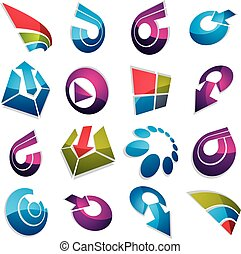 Geometric abstract 3d vector shapes. Collection of arrows, navigation pictograms and multimedia signs, for use in web and graphic design.
