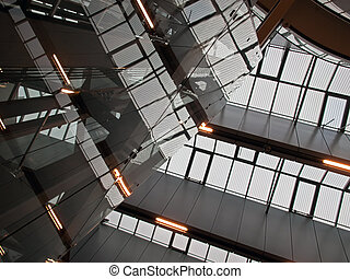Geometric abstract architecture ceiling of modern IT business corporate office building