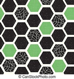 Geometric abstract background hexagons with grunge texture. Seamless vector pattern. Black green white modern abstract backdrop. Screen print retro style. Distressed hexagon. For wallpaper, home decor
