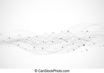 Geometric abstract background with connected line and dots. Network and connection background for your presentation. Graphic polygonal background. Scientific vector illustration