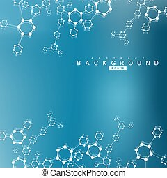 Geometric abstract background with connected line and dots. Scientific concept for your design. Vector illustration