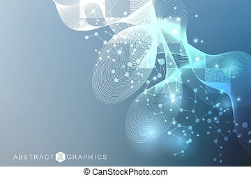 Geometric abstract background with connected line and dots. Structure molecule and communication. Scientific and technology concept. Wave flow graphic background for your design. Vector illustration.
