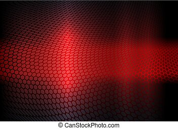 Geometric abstract design in red with a curly grate silhouette
