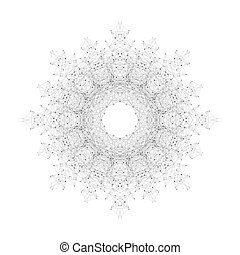Geometric abstract form with connected line and dots. Futuristic technology object for your design. Vector illustration