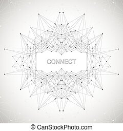 Geometric abstract form with connected line and dots....