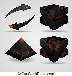 3d geometric abstract futuristic Gloomy gothic pyramid and cube rotating arrows vector illustration