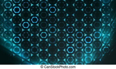 Geometric abstract futuristic green background with hexagons with light rays.