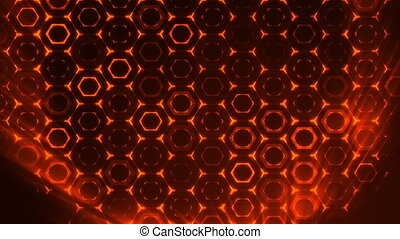 Geometric abstract futuristic red background with hexagons with light rays.