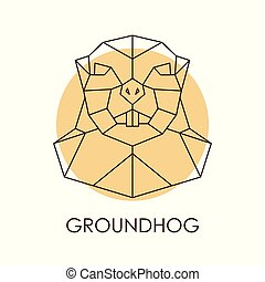 Geometric abstract groundhog head.