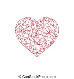 Geometric abstract linear heart icon.