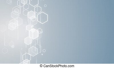 Geometric abstract loop background hexagon molecule Cybernetic molecule system. molecules Science and biology. for healthcare technology, innovation medicine, health, science research Presentation.