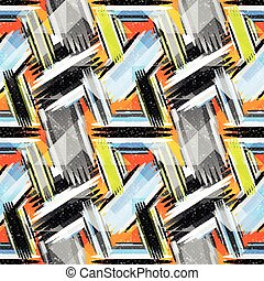 geometric abstract seamless pattern on an orange background
