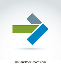 Geometric abstract symbol with arrow, vector graphic design element, icon.