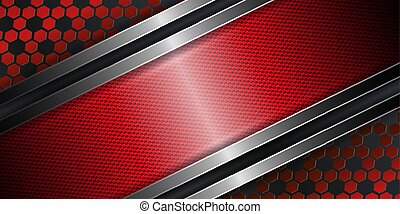 Geometric abstract textural red design with a metal frame with edging