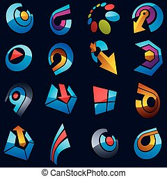 Geometric abstract vector shapes. Collection of arrows, navigation pictograms and multimedia signs, for use in web and graphic design.