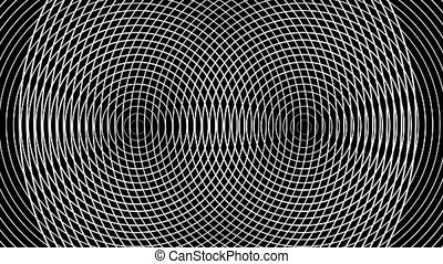 Geometric abstraction of white rings moving on a black background