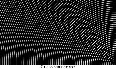 Geometric abstraction of white semi-rings moving on black background