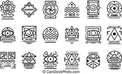 Geometric alchemy icons set, outline style