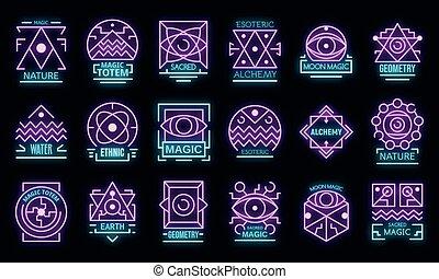 Geometric alchemy icons set vector neon