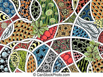 abstraction style zentangle - geometric and botanical...