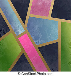 Geometric Art Deco Green Pink Blue