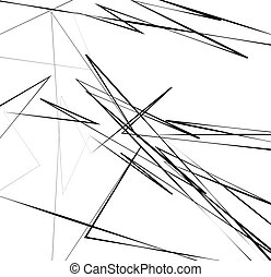 Geometric art with random, chaotic lines. Abstract monochrome illustration