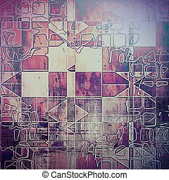 Geometric background with dirty grunge texture, vintage style elements and different color patterns: yellow (beige); brown; blue; red (orange); purple (violet)