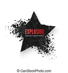 Geometric banner with space for text. Geometric background. Abstract explosion of black star shape. Vector illustration isolated on white