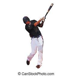 Geometric baseball player, abstract polygonal vector illustration